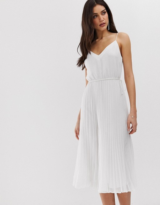 ASOS DESIGN pleated cami midi dress with drawstring waist