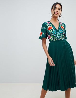 ASOS DESIGN pleated embroidered midi dress
