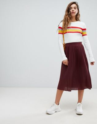ASOS DESIGN pleated midi skirt in jersey