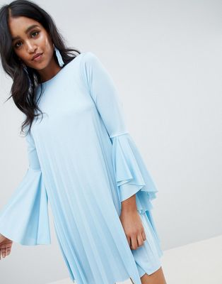 ASOS DESIGN pleated mini shift dress