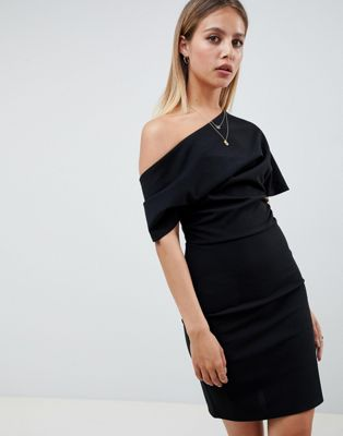 Image 1 of ASOS DESIGN pleated shoulder mini pencil dress