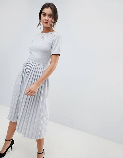 ASOS DESIGN pleated skirt midi dress