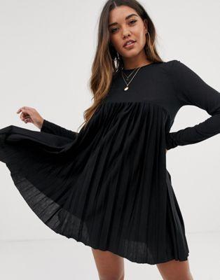 Image 1 of ASOS DESIGN pleated smock dress