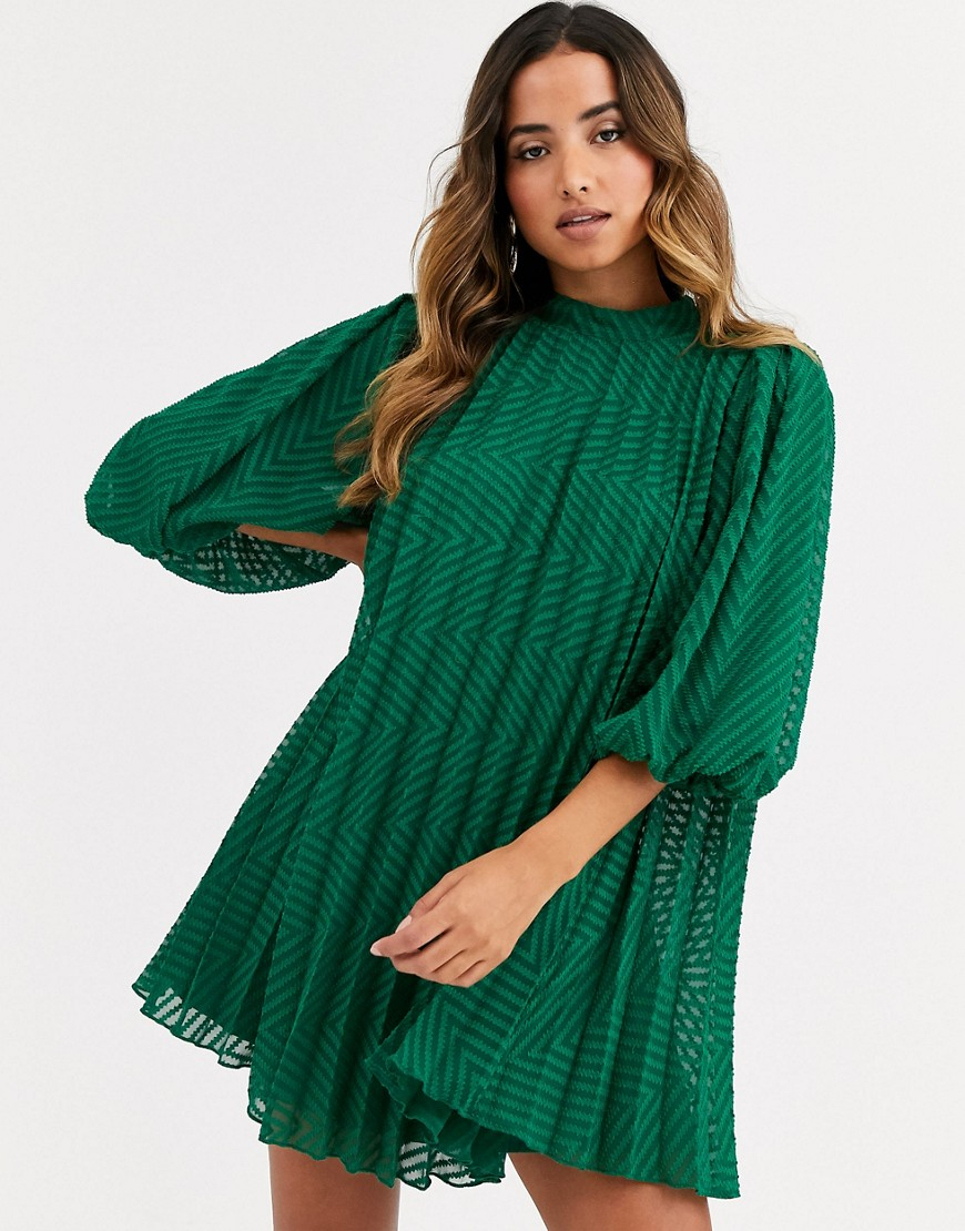 Asos Design Pleated Trapeze Mini Dress With Puff Sleeves In Dobby by Asos Design