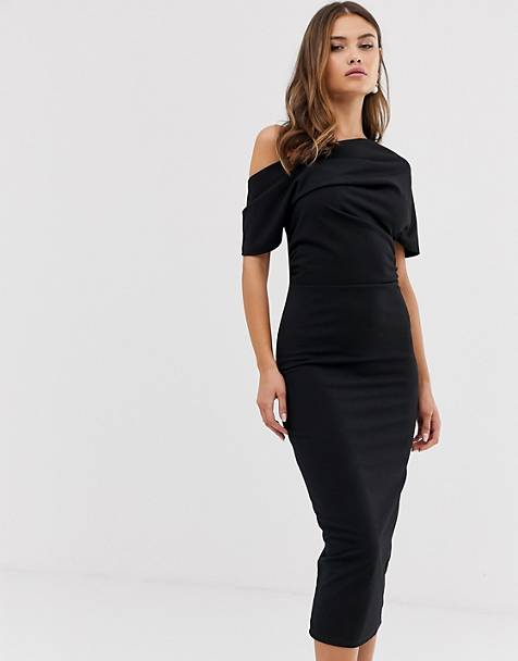 ASOS DESIGN plisseret pencilkjole med off-the-shoulder