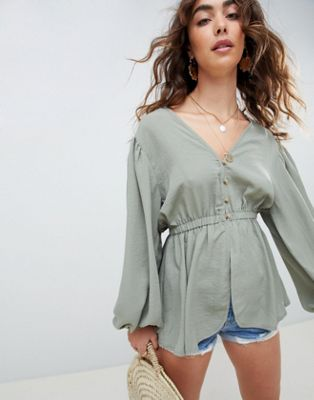 ASOS DESIGN plunge top with kimono sleeve and button detail