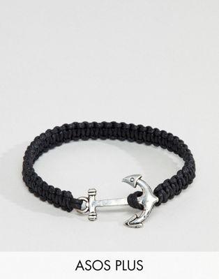 ASOS DESIGN Plus – Armband mit Anker-Anhänger in Schwarz