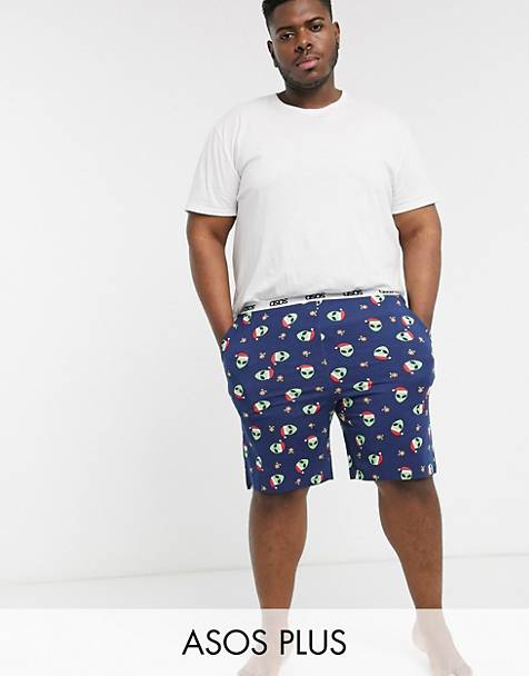 ASOS DESIGN Plus christmas lounge pyjama bottom with alien print and branded waistband