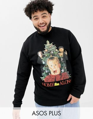 ASOS DESIGN plus christmas sweatshirt with home alone print