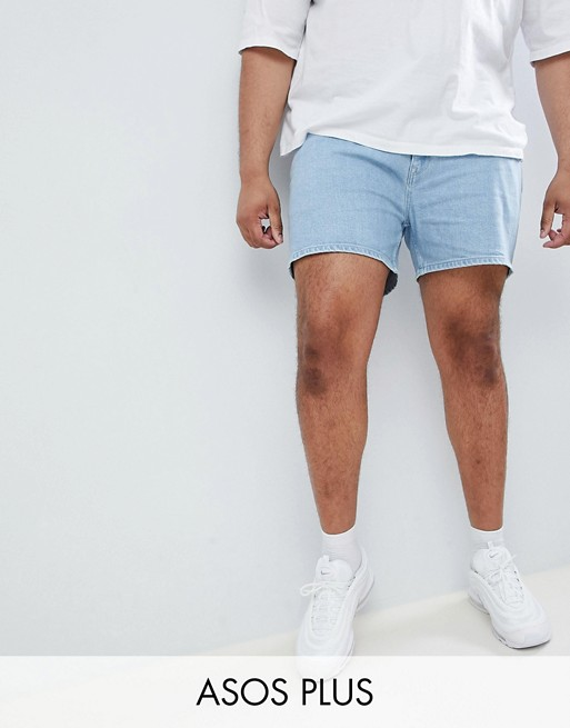Image 1 of ASOS DESIGN Plus denim shorts in skinny light wash blue shorter length