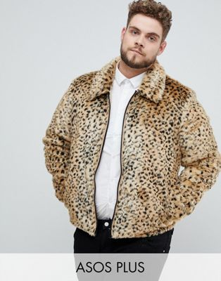 ASOS DESIGN Plus faux fur western jacket in leopard print