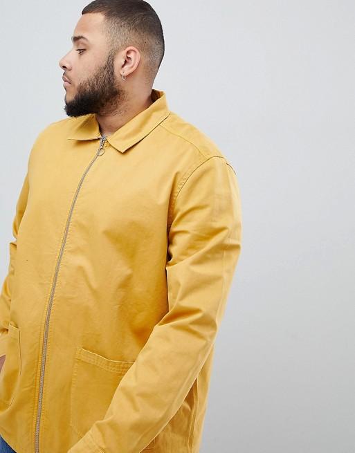 mit Hemdjacke Plus gelb ASOS Reißverschluss Gelbe DESIGN OI77qSw