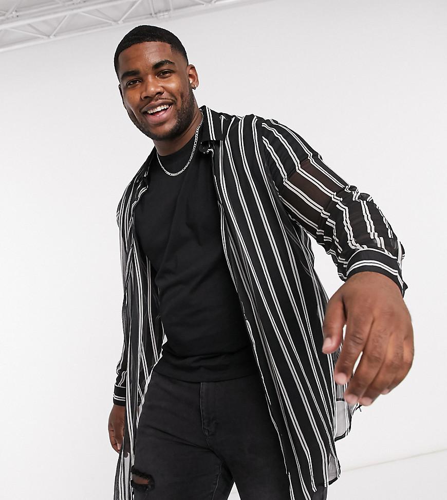 ASOS DESIGN Plus - Gennemsigtig longline-skjorte med buet kant og striber i regular fit-Sort