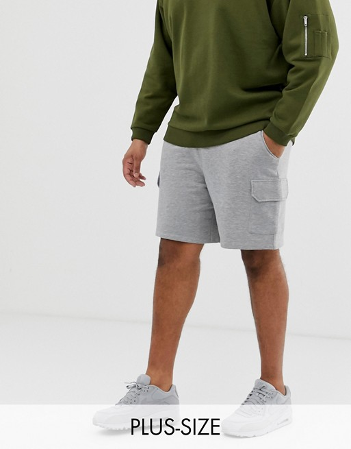 ASOS DESIGN Plus jersey fit shorts with cargo pockets in gray marl