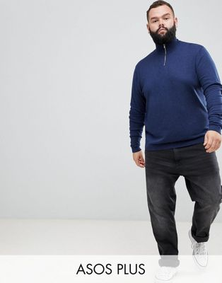 ASOS DESIGN Plus knitted half zip sweater in navy