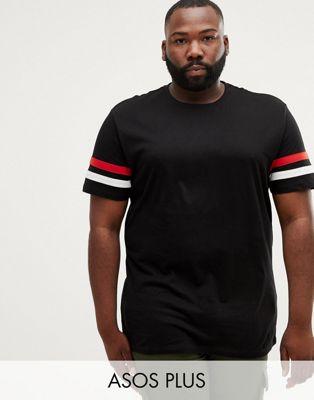 Bild 1 von ASOS DESIGN – Plus – Lässiges, lang geschnittenes T-Shirt in Schwarz mit Kontrastbahnen am Ärmel