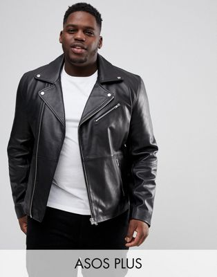 ASOS DESIGN Plus leather biker jacket in black