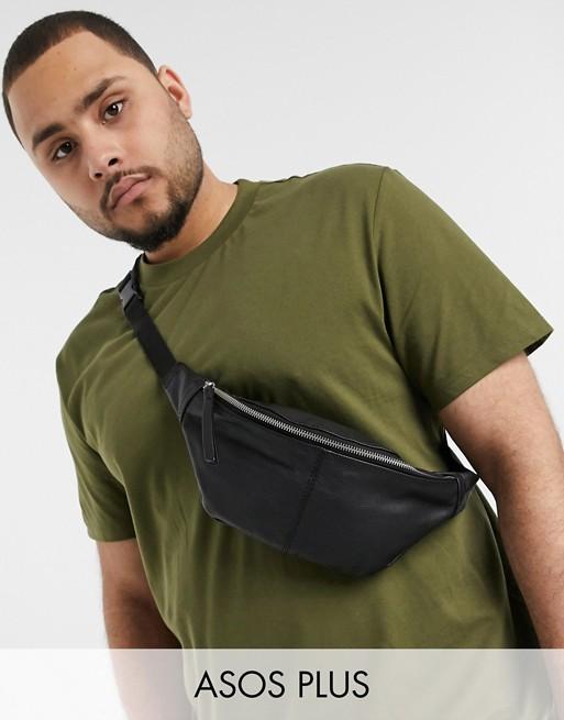 ASOS DESIGN Plus leather cross body bum bag in black