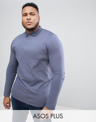 Image 1 of ASOS DESIGN Plus long sleeve jersey polo in blue