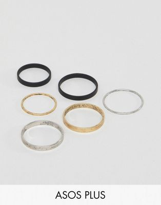 Image 1 of ASOS DESIGN Plus Midi Ring Pack In Burnished Finish