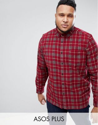 ASOS DESIGN PLUS Oversized Cord Check Shirt