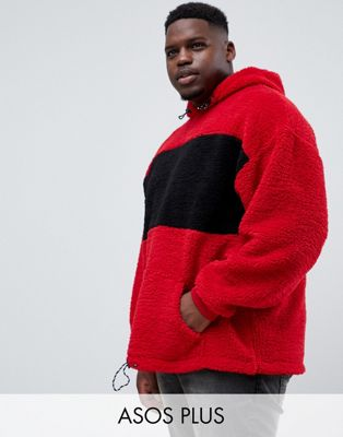 ASOS DESIGN plus oversized hoodie in borg with color blocking