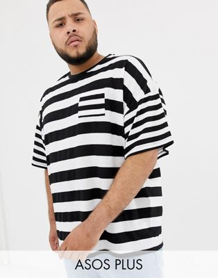 ASOS DESIGN Plus oversized striped t-shirt with contrast stripe chest pocket