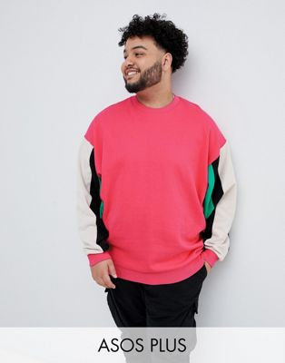 ASOS DESIGN plus oversized sweatshirt with color blocking