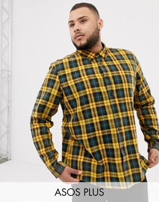 Image 1 of ASOS DESIGN Plus regular fit check shirt in black & mustard with acid wash