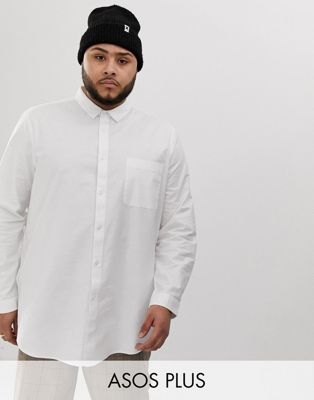 Image 1 of ASOS DESIGN Plus regular fit longline oxford shirt in white