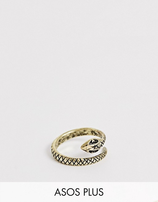 Image 1 of ASOS DESIGN Plus ring with wrap around snake in burnished gold tone