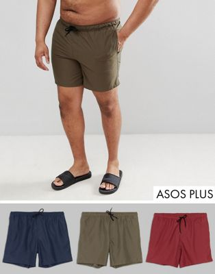 ASOS DESIGN - Plus - Set van 3 halflange zwemshorts in kaki en marineblauw en donkerrood