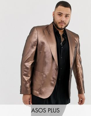 ASOS DESIGN Plus skinny 70s metallic copper blazer