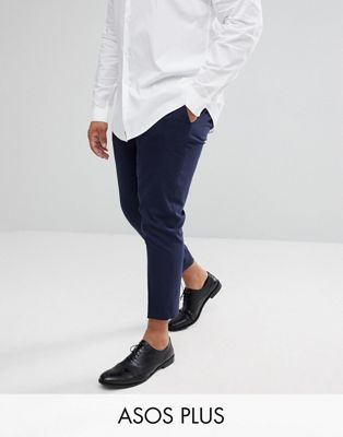 ASOS DESIGN Plus skinny cropped smart pants in navy