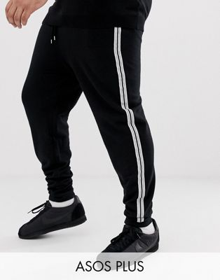 ASOS DESIGN plus skinny joggers with white side stripes