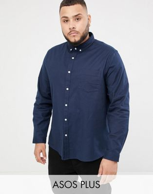 Image 1 of ASOS DESIGN Plus slim fit oxford shirt in navy