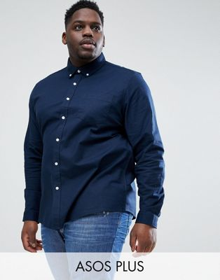 ASOS DESIGN Plus stretch regular oxford shirt in navy