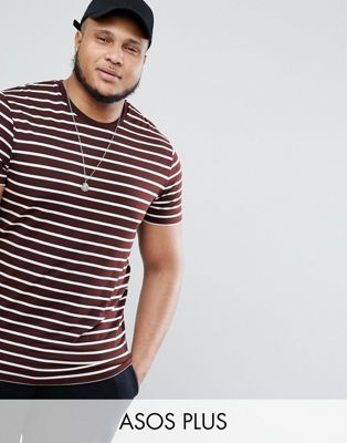 ASOS DESIGN Plus stripe t-shirt in burgundy and white