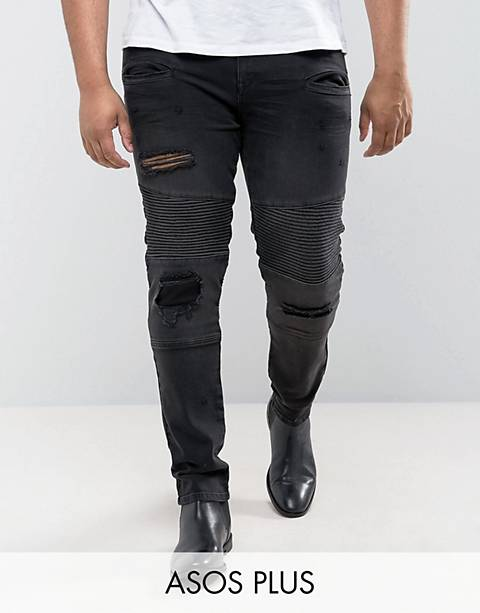 ASOS DESIGN Plus super skinny jeans with abrasions in biker style