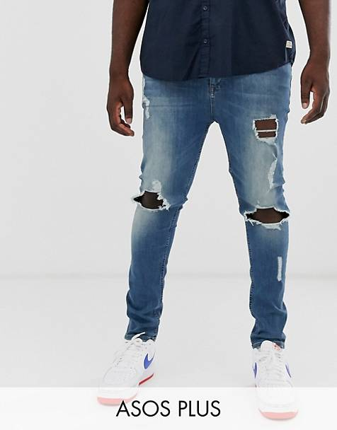 ASOS DESIGN Plus super skinny jeans with open rips in vintage dark wash blue