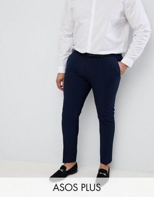 Image 1 of ASOS DESIGN Plus super skinny smart pants in navy