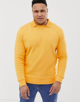 Image 1 of ASOS DESIGN Plus sweatshirt with polo collar in yellow