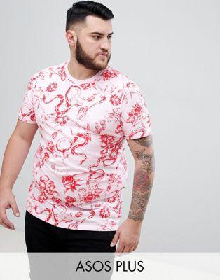 Afbeelding 1 van ASOS DESIGN - Plus - T-shirt met slangen- en bloemenprint