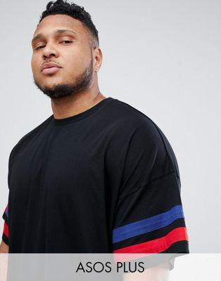 ASOS DESIGN Plus - T-shirt oversize avec empiècements contrastés sur les manches - Noir