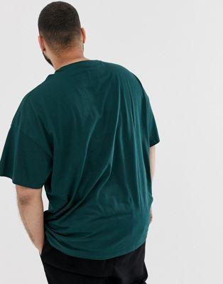 Kaki Asos Cou Plus Coton En Ras De Design Bio shirt Oversize T PF4qT7xP