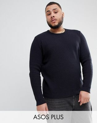 ASOS DESIGN Plus Textured Jumper In Navy