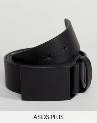 ASOS DESIGN PLUS vegan wide faux leather belt in black with matte black plate buckle