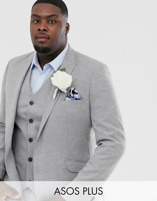 ASOS DESIGN Plus wedding skinny suit jacket in gray twist micro texture