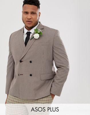 ASOS DESIGN Plus wedding slim double breasted check blazer in camel (11469842)