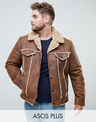 ASOS DESIGN Plus western faux shearling jacket in brown